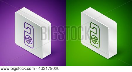 Isometric Line Please Do Not Disturb Icon Isolated On Purple And Green Background. Hotel Door Hanger