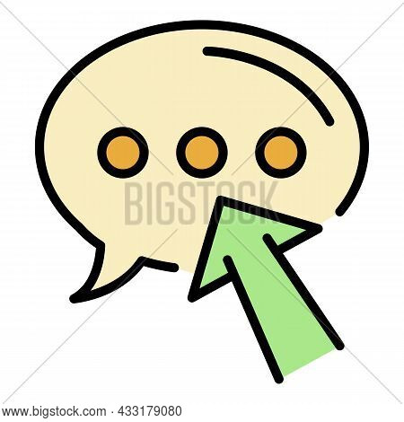 Chat Bubble Blog Icon. Outline Chat Bubble Blog Vector Icon Color Flat Isolated On White