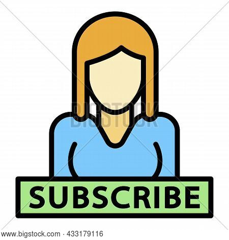 Subscribe People Icon. Outline Subscribe People Vector Icon Color Flat Isolated On White