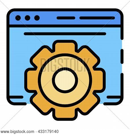 Gear Site Vlog Icon. Outline Gear Site Vlog Vector Icon Color Flat Isolated On White