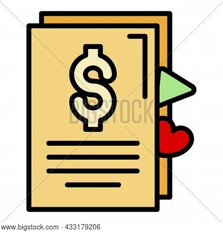 Vlog Money Contract Icon. Outline Vlog Money Contract Vector Icon Color Flat Isolated On White