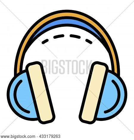 Headset Icon. Outline Headset Vector Icon Color Flat Isolated On White