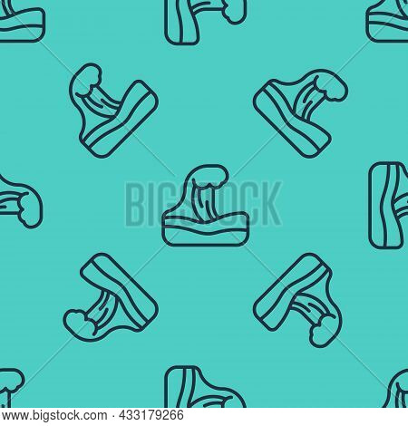 Black Line Tsunami Icon Isolated Seamless Pattern On Green Background. Flood Disaster. Stormy Weathe