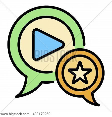 Favorite Video Blog Icon. Outline Favorite Video Blog Vector Icon Color Flat Isolated On White