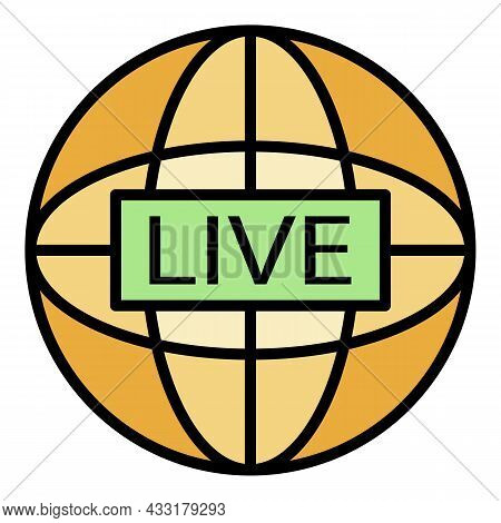 Global Live Video Blog Icon. Outline Global Live Video Blog Vector Icon Color Flat Isolated On White
