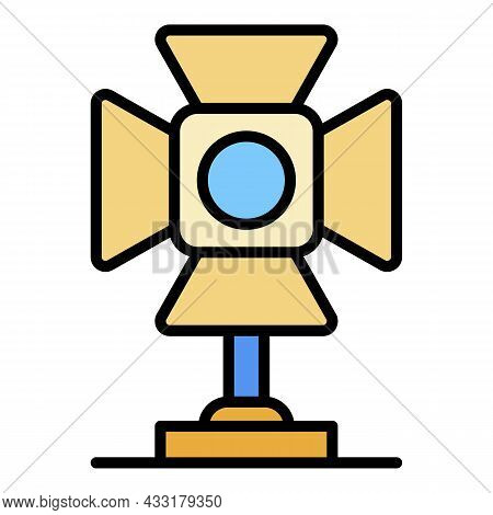 Video Spot Light Icon. Outline Video Spot Light Vector Icon Color Flat Isolated On White