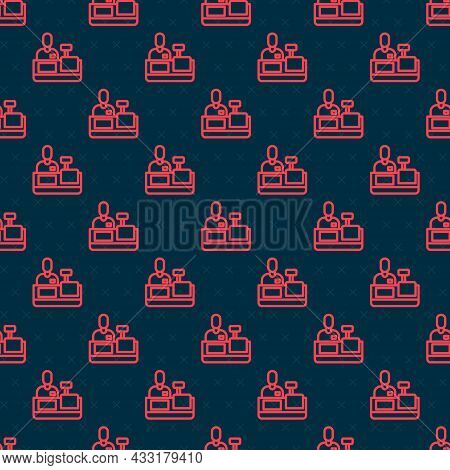 Red Line Cashier At Cash Register Supermarket Icon Isolated Seamless Pattern On Black Background. Sh
