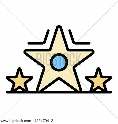 Star Video Blog Icon. Outline Star Video Blog Vector Icon Color Flat Isolated On White