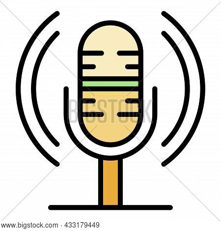 Loud Microphone Icon. Outline Loud Microphone Vector Icon Color Flat Isolated On White