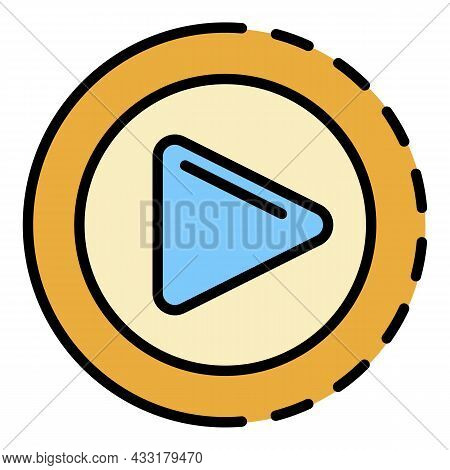 Round Video Player Icon. Outline Round Video Player Vector Icon Color Flat Isolated On White