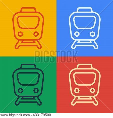 Pop Art Line Train Icon Isolated On Color Background. Public Transportation Symbol. Subway Train Tra