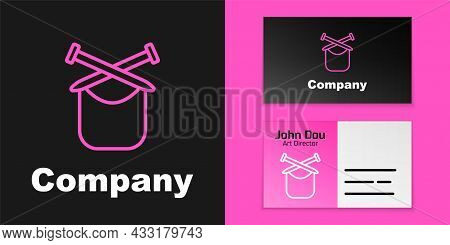 Pink Line Knitting Icon Isolated On Black Background. Wool Emblem With Knitted Fabric And Needle. La