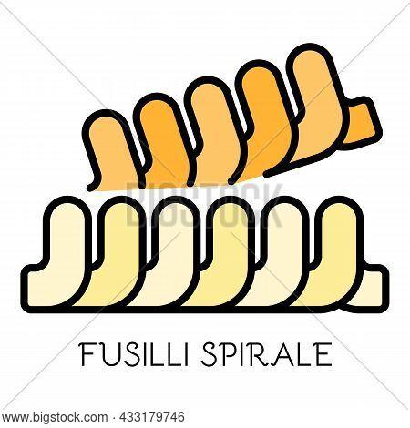 Fusilli Spirale Pasta Icon. Outline Fusilli Spirale Pasta Vector Icon Color Flat Isolated On White