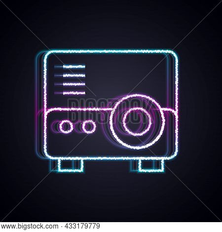 Glowing Neon Line Presentation, Movie, Film, Media Projector Icon Isolated On Black Background. Vect