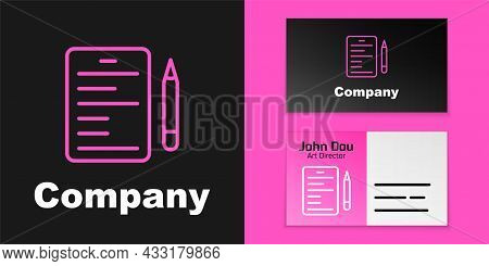 Pink Line Scenario Icon Isolated On Black Background. Script Reading Concept For Art Project, Films,