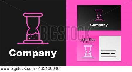 Pink Line Old Hourglass With Flowing Sand Icon Isolated On Black Background. Sand Clock Sign. Busine