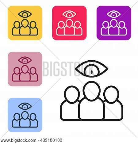 Black Line Spy, Agent Icon Isolated On White Background. Spying On People. Set Icons In Color Square