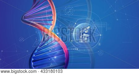 Dna Double Helix And Infographics With Microscope.
