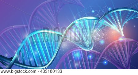 Luminous Double Helix Strands Of Abstract Dna.