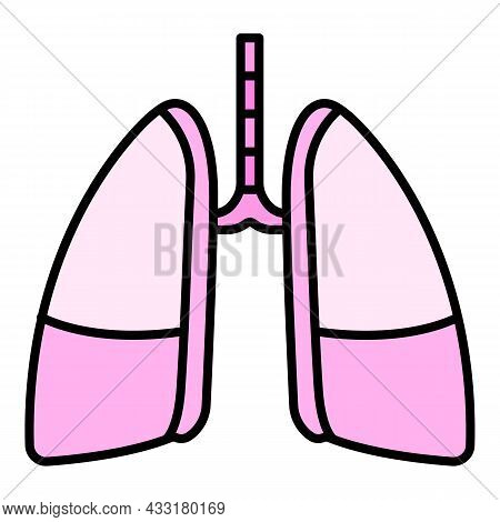 Disease Lungs Icon. Outline Disease Lungs Vector Icon Color Flat Isolated On White