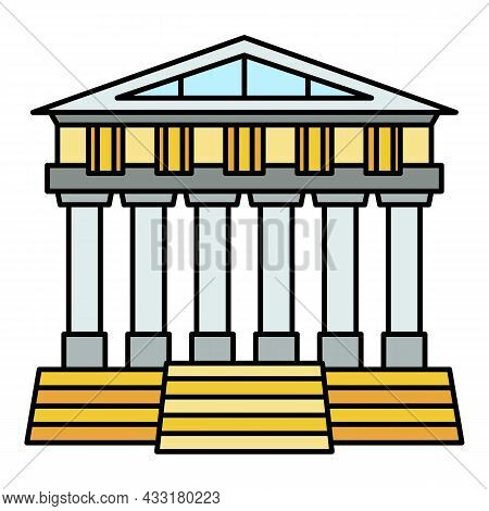 Greek Temple Icon. Outline Greek Temple Vector Icon Color Flat Isolated On White