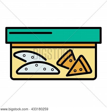 Lunchbox Icon. Outline Lunchbox Vector Icon Color Flat Isolated On White