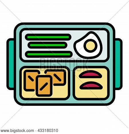 Food Lunchbox Icon. Outline Food Lunchbox Vector Icon Color Flat Isolated On White