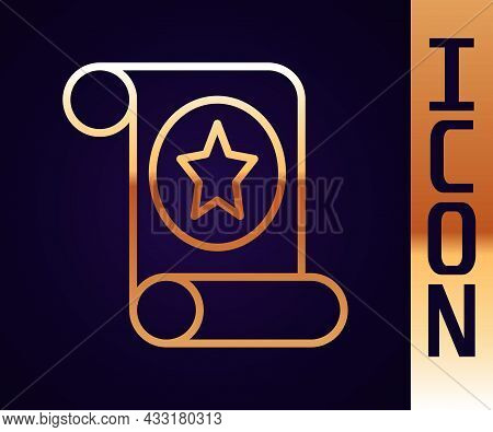 Gold Line Magic Scroll Icon Isolated On Black Background. Decree, Paper, Parchment, Scroll Icon. Vec