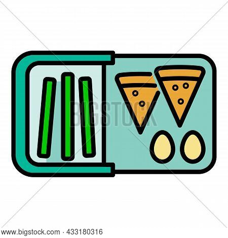 Fast Food Lunchbox Icon. Outline Fast Food Lunchbox Vector Icon Color Flat Isolated On White