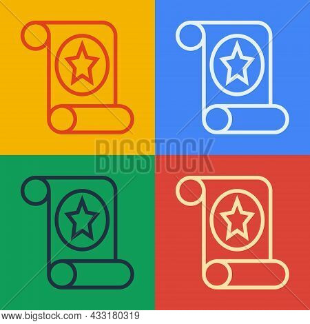 Pop Art Line Magic Scroll Icon Isolated On Color Background. Decree, Paper, Parchment, Scroll Icon.