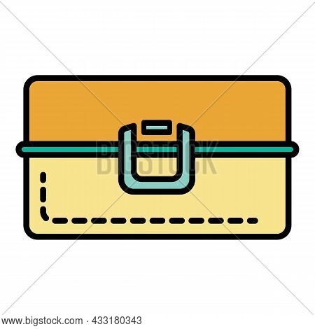 Metal Lunchbox Icon. Outline Metal Lunchbox Vector Icon Color Flat Isolated On White