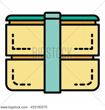 Outdoor Lunchbox Icon. Outline Outdoor Lunchbox Vector Icon Color Flat Isolated On White