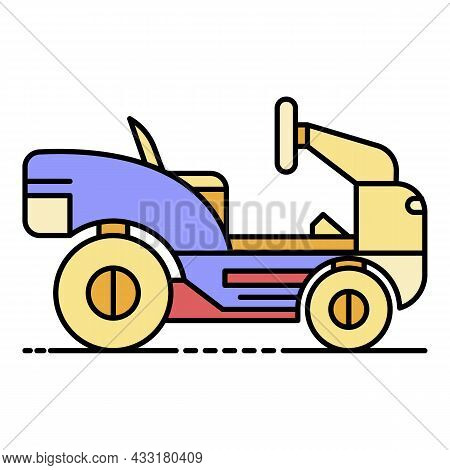 Lawn Mower Tractor Icon. Outline Lawn Mower Tractor Vector Icon Color Flat Isolated On White