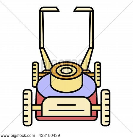 Motor Lawn Mower Icon. Outline Motor Lawn Mower Vector Icon Color Flat Isolated On White