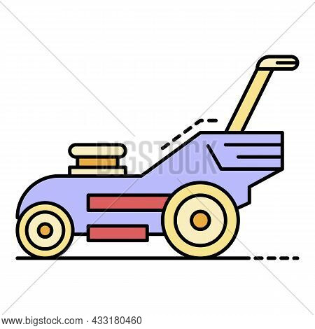 Modern Lawn Mower Icon. Outline Modern Lawn Mower Vector Icon Color Flat Isolated On White