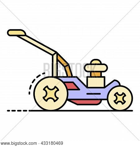 Rotary Lawn Mower Icon. Outline Rotary Lawn Mower Vector Icon Color Flat Isolated On White