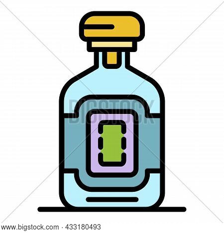 Whiskey Bottle Icon. Outline Whiskey Bottle Vector Icon Color Flat Isolated On White