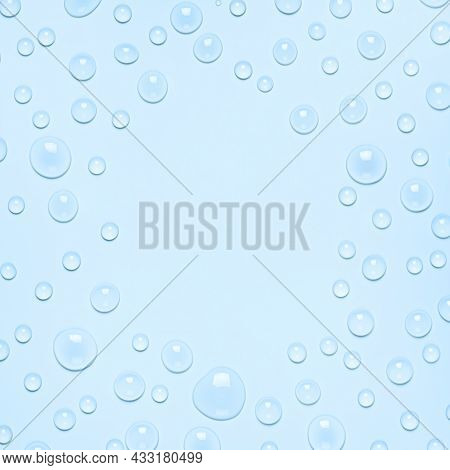 Frame Of Water Drops On A Pastel Blue Background. Water Texture Close Up. Backdrop Glass Covered Wit