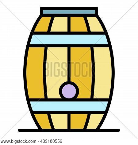 Wood Whiskey Barrel Icon. Outline Wood Whiskey Barrel Vector Icon Color Flat Isolated On White