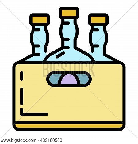 Whiskey Bottle Box Icon. Outline Whiskey Bottle Box Vector Icon Color Flat Isolated On White