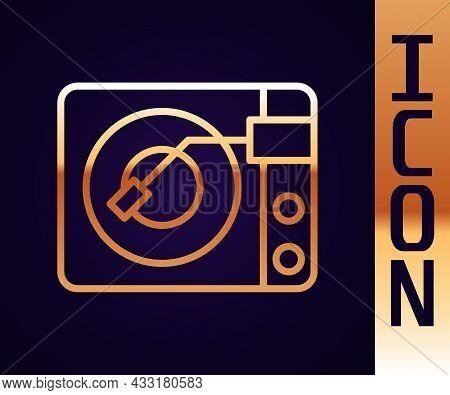 Gold Line Vinyl Player With A Vinyl Disk Icon Isolated On Black Background. Vector