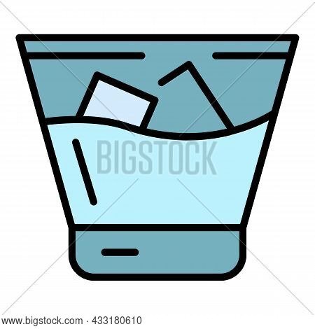 Cold Whiskey Glass Icon. Outline Cold Whiskey Glass Vector Icon Color Flat Isolated On White