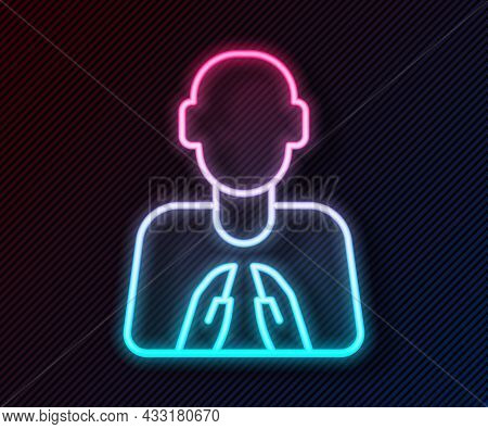 Glowing Neon Line Hands In Praying Position Icon Isolated On Black Background. Prayer To God With Fa