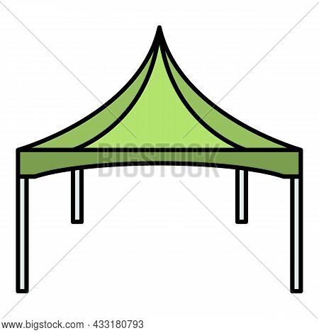 Commercial Tent Icon. Outline Commercial Tent Vector Icon Color Flat Isolated On White
