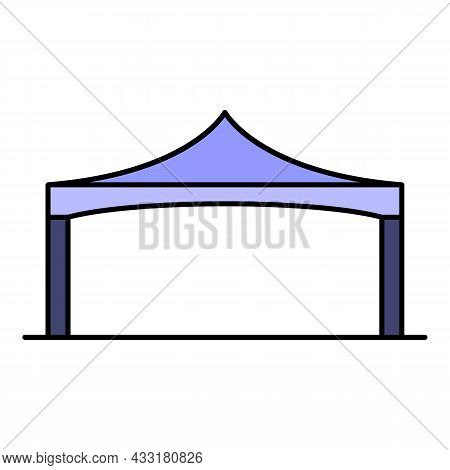 Folding Tent Icon. Outline Folding Tent Vector Icon Color Flat Isolated On White