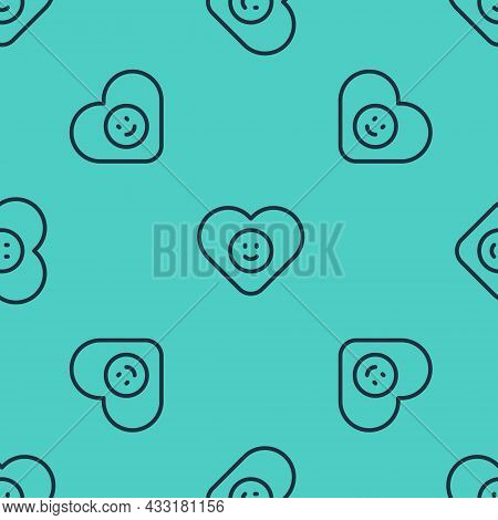 Black Line Good Relationship Icon Isolated Seamless Pattern On Green Background. Romantic Relationsh