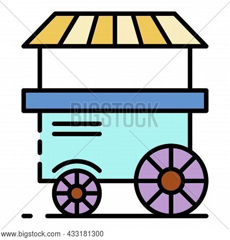 Popcorn Cart Shop Icon. Outline Popcorn Cart Shop Vector Icon Color Flat Isolated On White