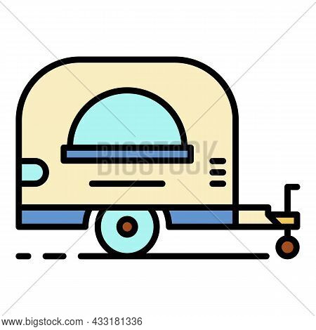 Food Trailer Shop Icon. Outline Food Trailer Shop Vector Icon Color Flat Isolated On White