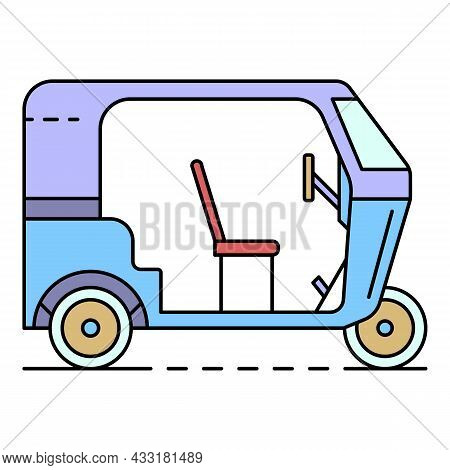 Motor Tricycle Icon. Outline Motor Tricycle Vector Icon Color Flat Isolated On White