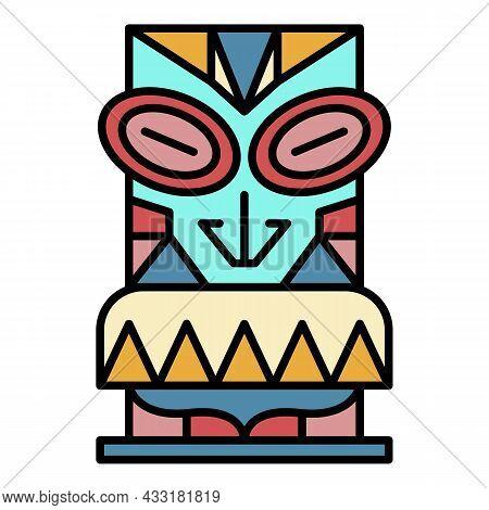 Aloha Wood Idol Icon. Outline Aloha Wood Idol Vector Icon Color Flat Isolated On White